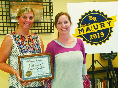 Lauren McDonald, left, and Mandy Scott, Columbia Academy, Best Pre-K/Kindergarten (Photo by correspondent Susan W. Thurman)